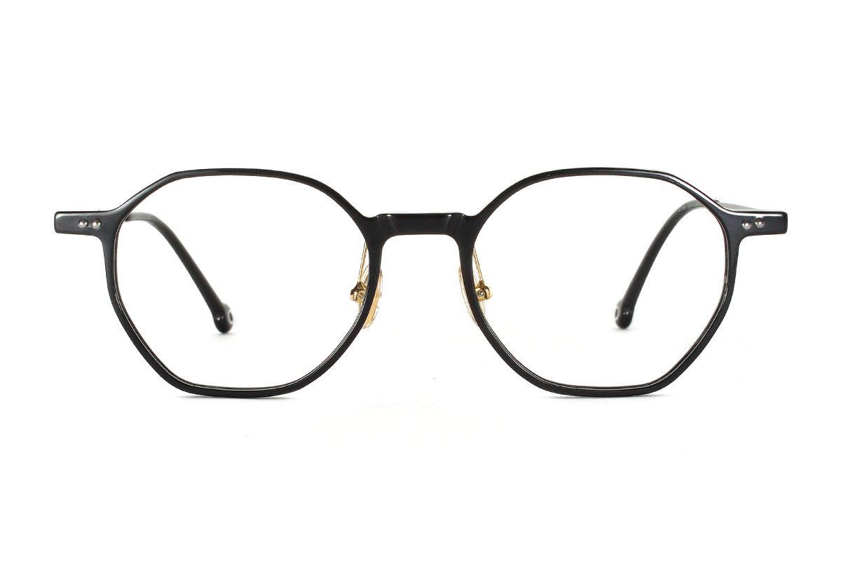 八角黑色文青眼鏡 FSY2108-C72
