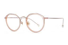 眼镜镜框-粉橘金钛复合框 H6525-C8