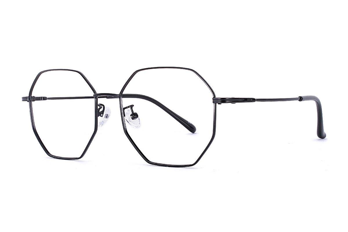 八角黑色细框眼镜 FS55644-C71