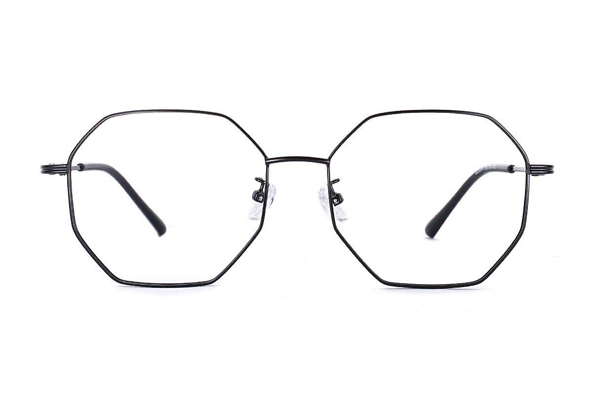 八角黑色细框眼镜 FS55644-C72