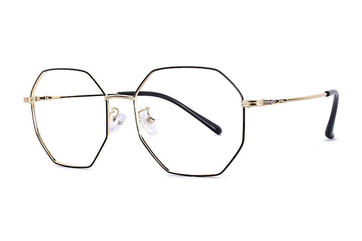 八角黑金细框眼镜 FS55644-C141