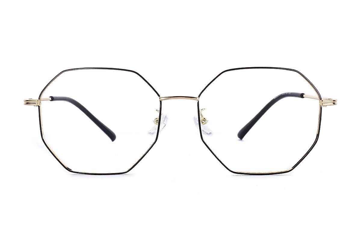 八角黑金细框眼镜 FS55644-C142