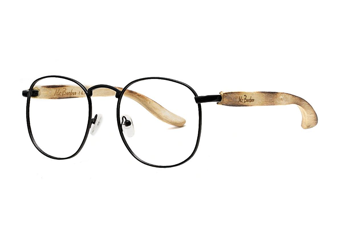 台灣製手工柚木眼鏡-黑圓1