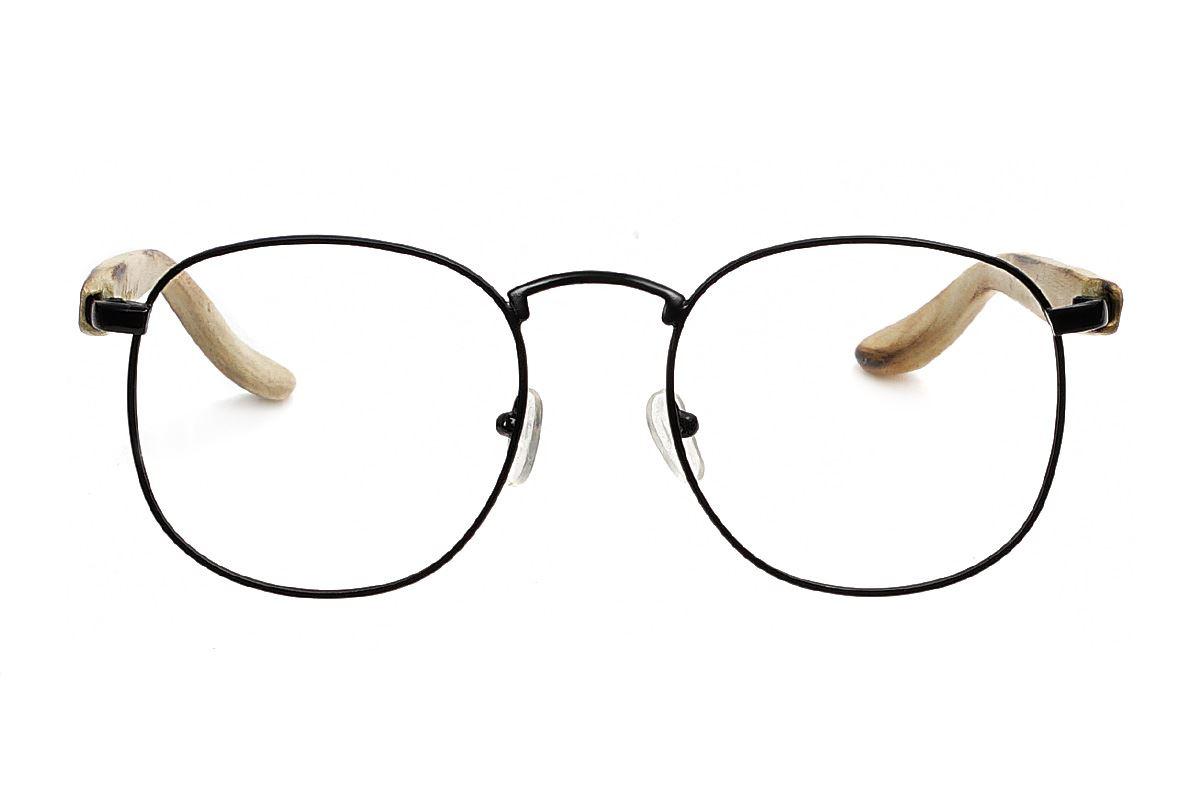 台灣製手工柚木眼鏡-黑圓2
