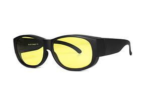 眼鏡配件-台灣製外掛式偏光套鏡-黑/黃