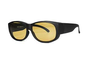 眼鏡配件-台灣製外掛式偏光套鏡-黑/橘