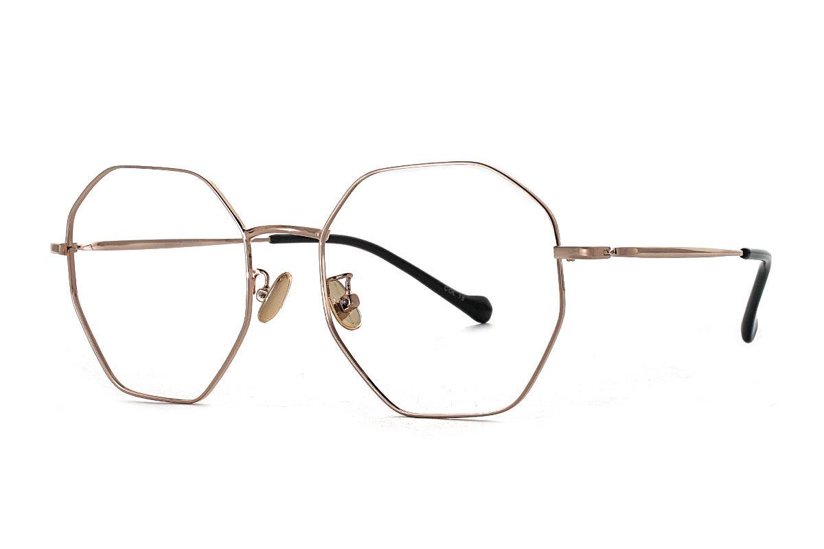 八角玫瑰金細框眼鏡 FV637-C151