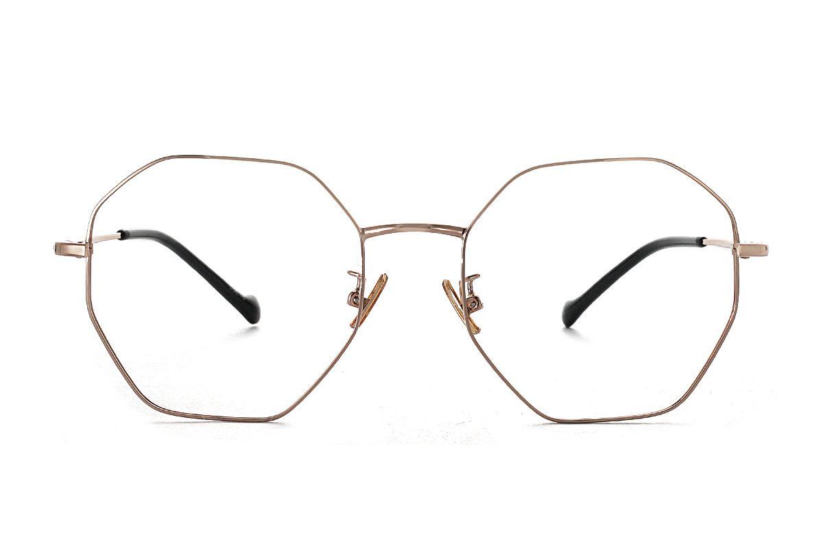 八角玫瑰金細框眼鏡 FV637-C152