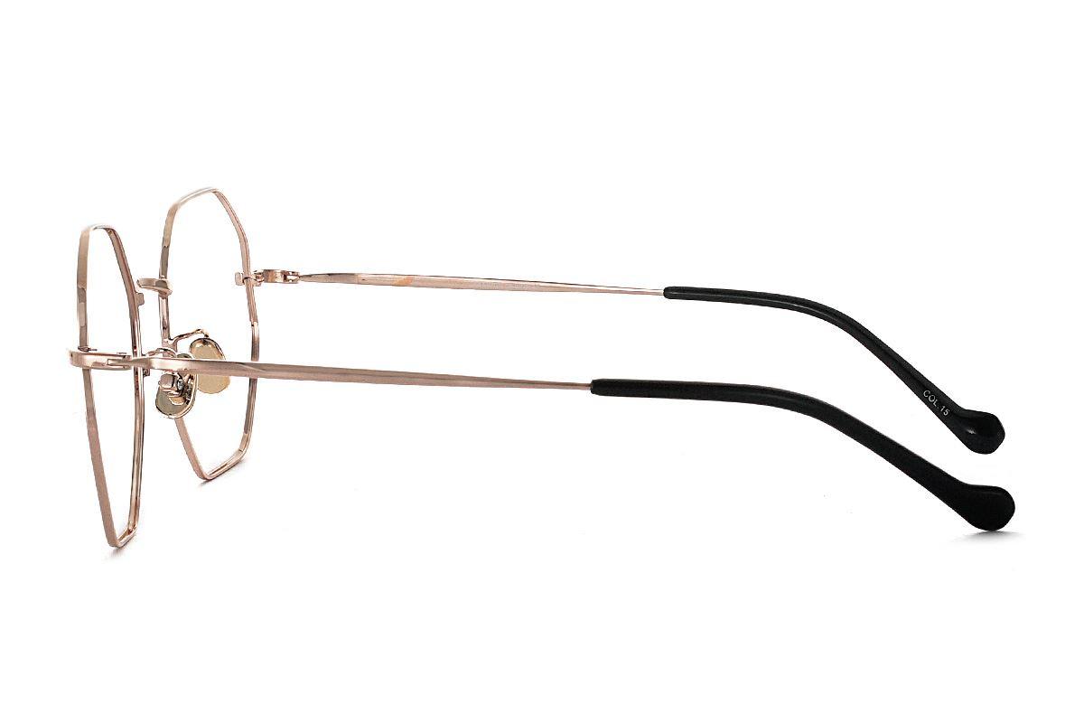 八角玫瑰金細框眼鏡 FV637-C153