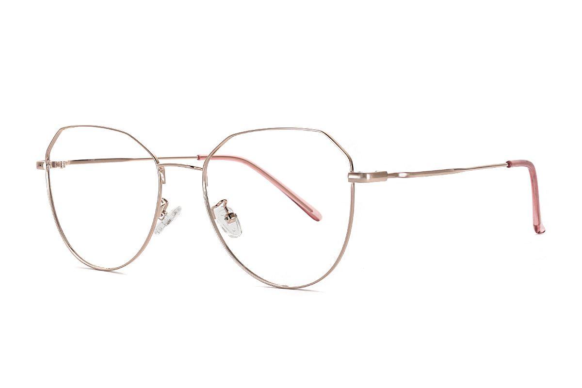 棱角玫瑰色眼鏡 F61006-C21
