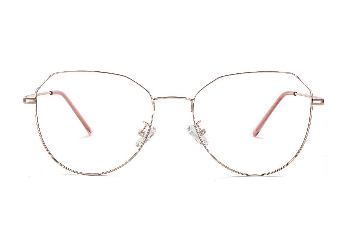 棱角玫瑰色眼鏡 F61006-C22