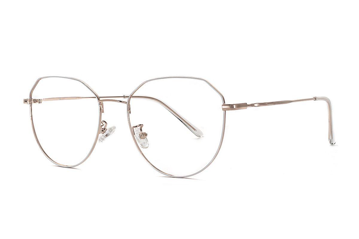 棱角白金色眼镜 F61006-C41