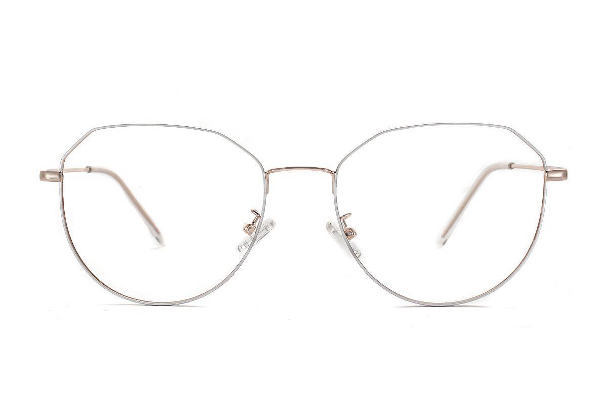 棱角白金色眼镜 F61006-C42