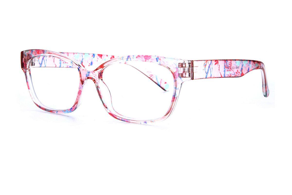 粉透明花紋TR镜框 2063-0121