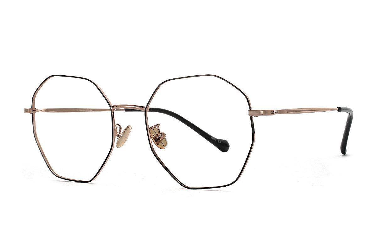 八角黑金細框眼鏡 FV637-C101