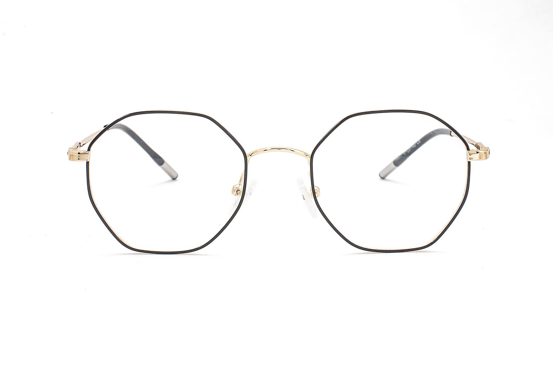 金属多角形抗蓝光眼镜 88011-C62