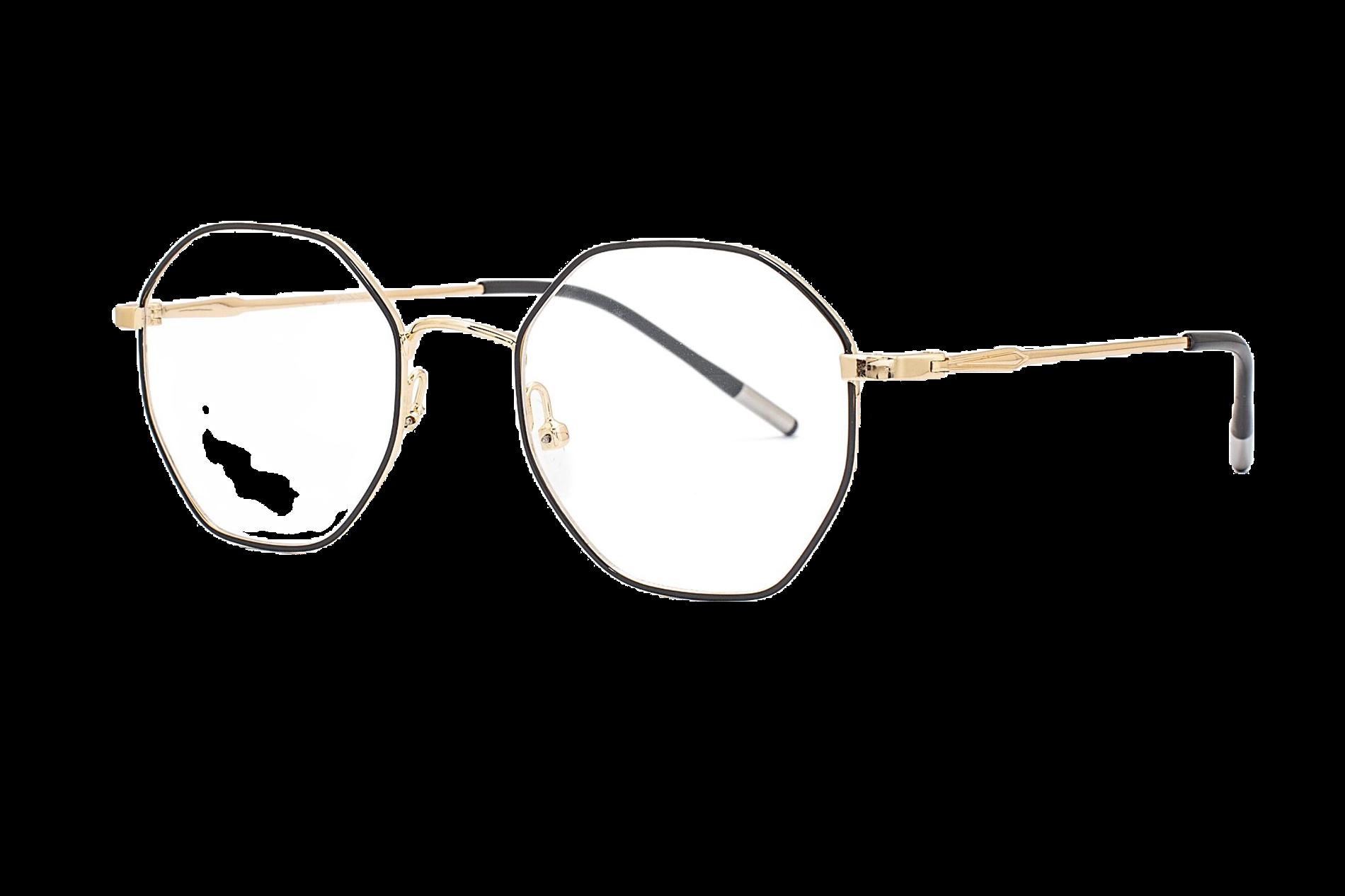 金属多角形抗蓝光眼镜 88011-C61